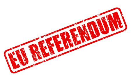 referendum: EU REFERENDUM red stamp text on white