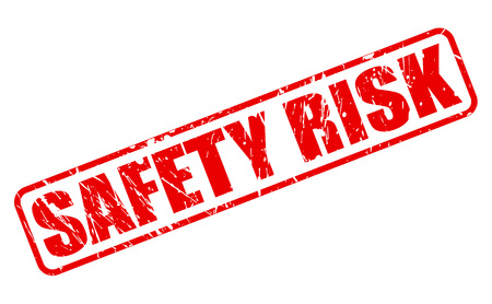 alarming: SAFETY RISK red stamp text on white