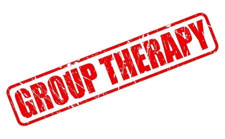 therapy group: GROUP THERAPY red stamp text on white