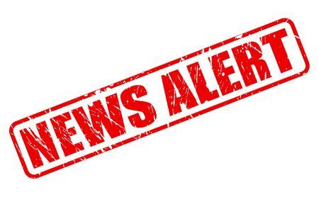 newsroom: NEWS ALERT red stamp text on white Stock Photo