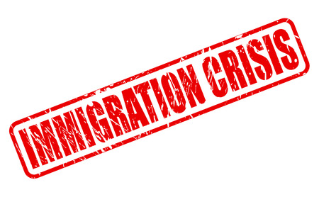 IMMIGRATION CRISIS red stamp text on white Stock Photo
