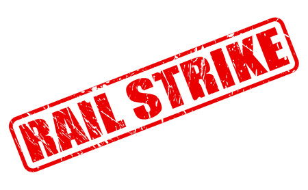 rail: RAIL STRIKE red stamp text on white