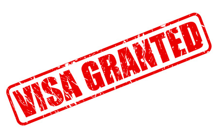 granting: VISA GRANTED red stamp text on white