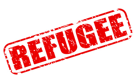 refugee: REFUGEE red stamp text on white