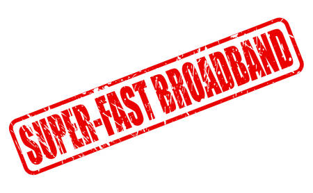 quicker: SUPER-FAST BROADBAND red stamp text on white Stock Photo