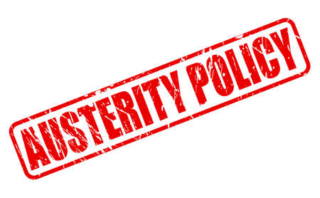 credit crunch: AUSTERITY POLICY red stamp text on white Stock Photo