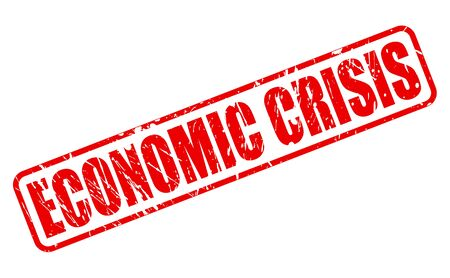 financial emergency: ECONOMIC CRISIS red stamp text on white