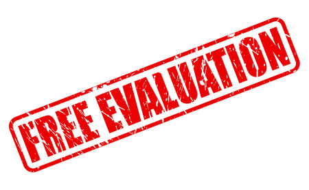 estimate: FREE EVALUATION red stamp text on white Stock Photo