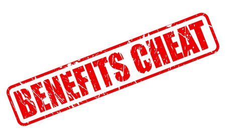 cheat: BENEFITS CHEAT red stamp text on white