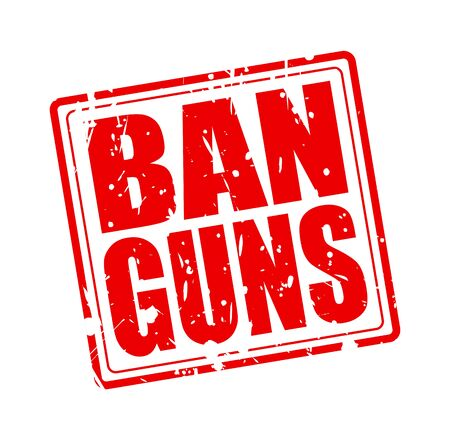 boycott: BAN GUNS red stamp text on white Stock Photo