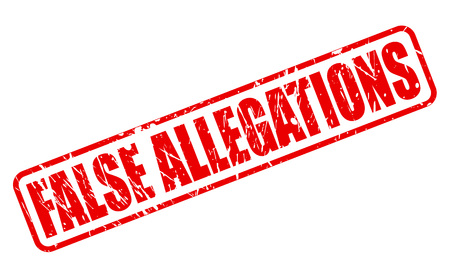 falso: ACUSACIONES FALSAS texto sello rojo en blanco