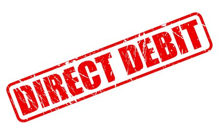 direct: DIRECT DEBIT red stamp text on white Stock Photo