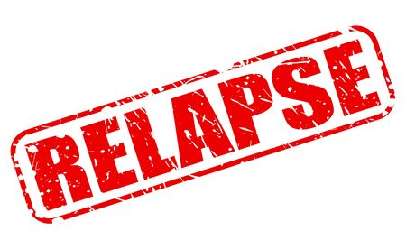 RELAPSE red stamp text on white
