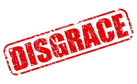 DISGRACE red stamp text on white Stock Photo