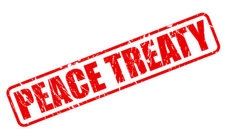 PEACE TREATY red stamp text on white Stock Photo