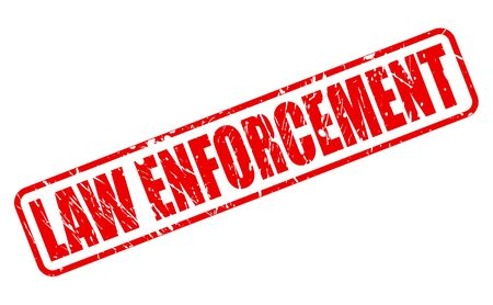 deterrent: LAW ENFORCEMENT red stamp text on white Stock Photo