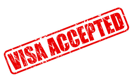 accepted: VISA ACCEPTED red stamp text on white