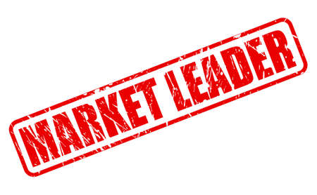 favored: MARKET LEADER red stamp text on white Stock Photo