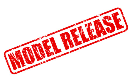 release: MODEL RELEASE red stamp text on white