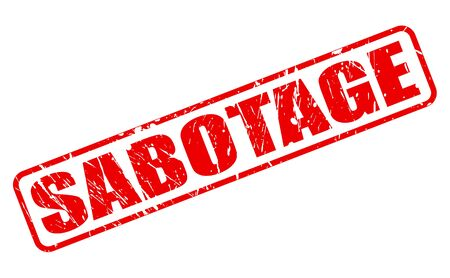 sabotage: SABOTAGE red stamp text on white Stock Photo