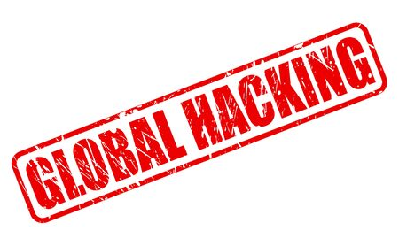 hacking: GLOBAL HACKING red stamp text on white