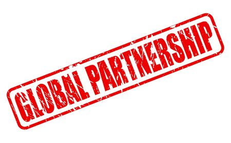 global partnership: GLOBAL PARTNERSHIP red stamp text on white