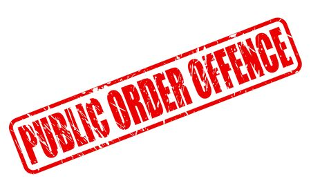 offense: PUBLIC ORDER OFFENCE red stamp text on white Stock Photo