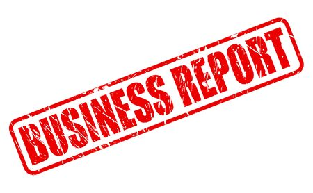 findings: BUSINESS REPORT red stamp text on white Stock Photo