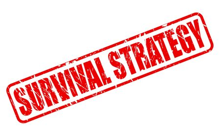 durability: SURVIVAL STRATEGY red stamp text on white Stock Photo
