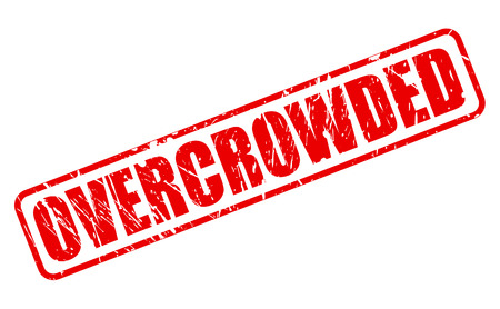 overcrowded: OVERCROWDED red stamp text on white