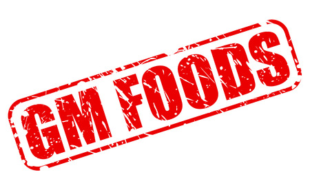 gm: GM FOODS red stamp text on white