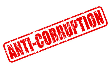 banish: ANTI-CORRUPTION red stamp text on white