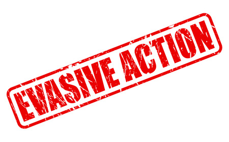 EVASIVE ACTION red stamp text on white Stock Photo