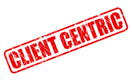 centering: Client Centric red stamp text on white