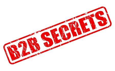 b2b: Secretos B2B texto sello rojo en blanco