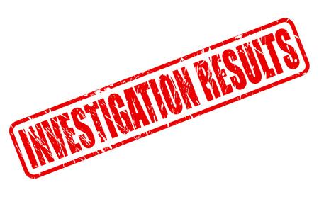 investigacion: INVESTIGACI�N RESULTADOS texto del sello rojo sobre blanco Foto de archivo