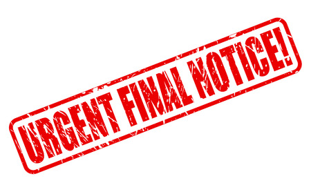 crucial: URGENT FINAL NOTICE red stamp text on white