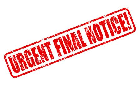 quick money: URGENT FINAL NOTICE red stamp text on white