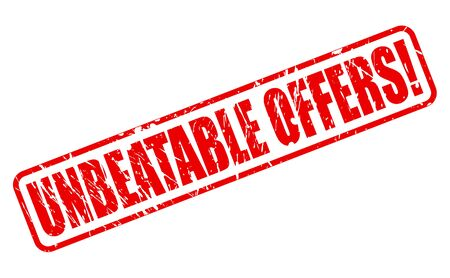 unbeatable: UNBEATABLE OFFERS red stamp text on white Stock Photo