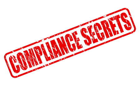 conform: Compliance Secrets red stamp text on white Stock Photo