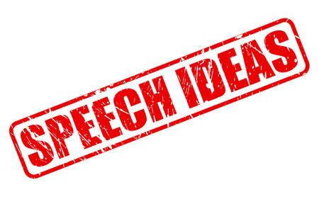 panelist: SPEECH IDEAS red stamp text on white Stock Photo
