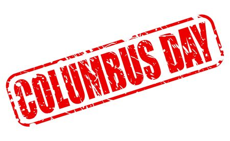 Columbus day red stamp text on white