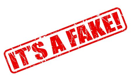 falsehood: Its a fake red stamp text on white Stock Photo