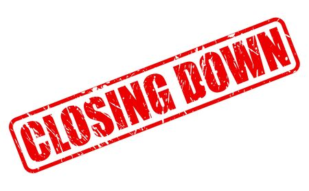 closing: Closing down red stamp text on white Stock Photo