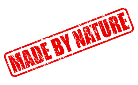 lifelike: Made by nature red stamp text on white Stock Photo