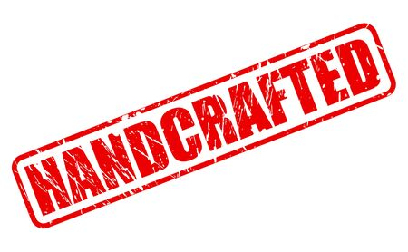 handcrafted: Handcrafted red stamp text on white