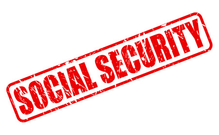 neighborly: Social security red stamp text on white