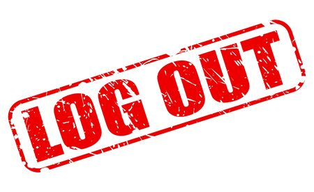 log out: LOG OUT red stamp text on white