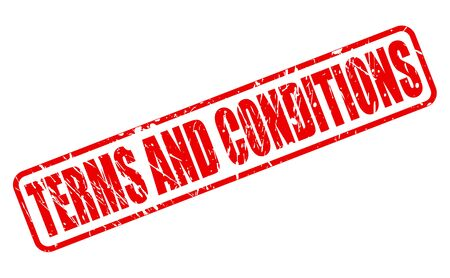 regimen: Terms and conditions red stamp text on white