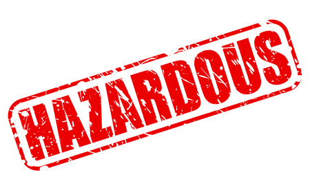 difficult situation: HAZARDOUS red stamp text on white Stock Photo